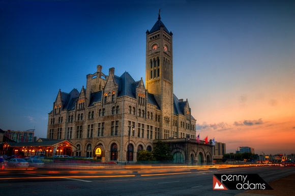 Historic Union Station at Dusk, Downtown Nashville, Tennessee