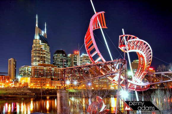 "Downtown Nashville and the ""Ghost Ballet"" Sculpture at Night, Tennessee"