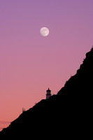Moon Over Makapuu Lighthouse, Oahu, Hawaii