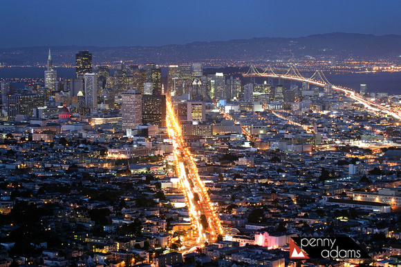 San Francisco at Night, From Twin Peaks, California