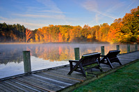 Morning Mist at Kendall Lake in Autumn, Cuyahoga National Park, Near Peninsula, Ohio