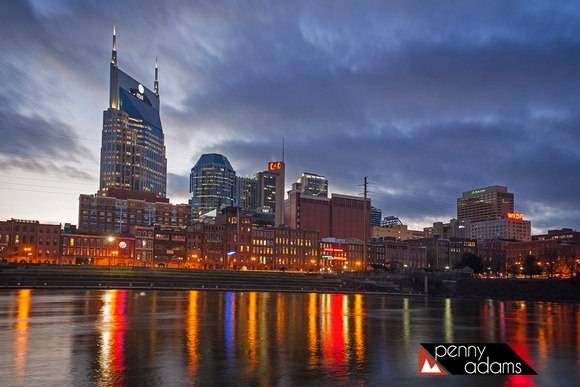 Downtown Nashville at Dusk Across the Cumberland River, Tennessee